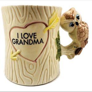 Vintage Owl I ❤️ Grandma Heart Mugs Cup